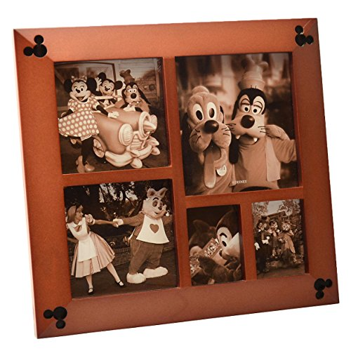 Disney Parks Exclusive Beveled Mickey Icon 5 Multi-Square Cherry Wood Picture Photo Frame (Disney Picture Frames compare prices)