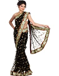 Exotic India Black Wedding Sari With Golden Thread Embroidered Bootis An - Black