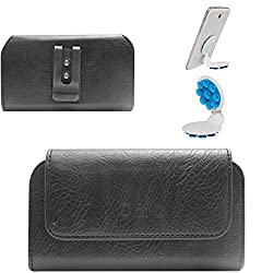 DMG Premium PU Leather Cell Phone Pouch Carrying Case with Belt Clip Holster for LG G4 H815 (Black) + Octopus Mobile Phone Holder Stand