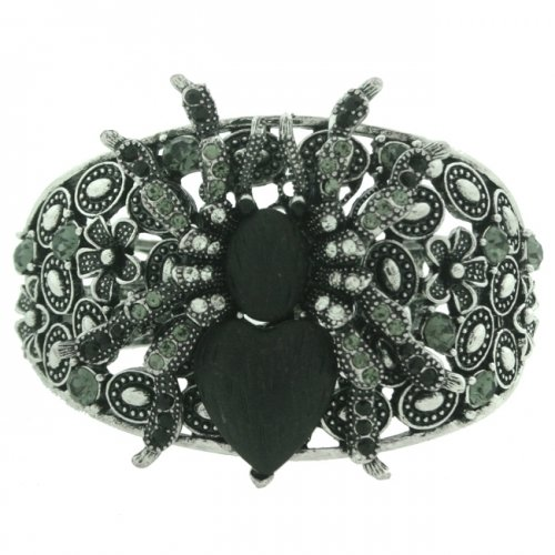 Crystal Spider Bangle, Clear/Dark Coloured Stones