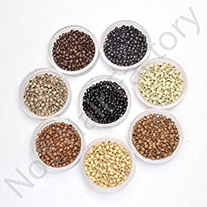 Silicone Lined Nano Rings Beads for use with Nano Tip Hair Extensions New - Beige - Amount-400 by Hair Lovers