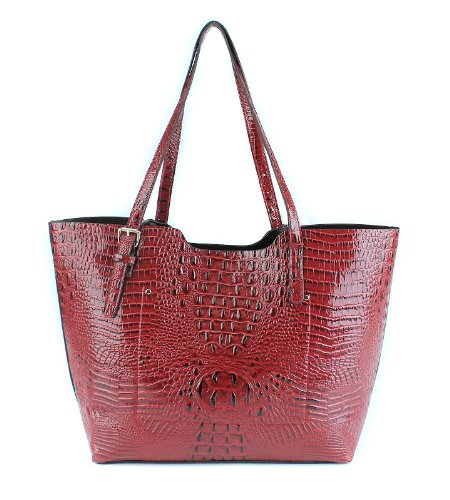 Scarleton Large Tote--Embossed Croc H1159 - medium bag with zip closure attached inside