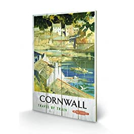Vintage - 15, Cornwall Cuadro De Madera (60 x 40cm)