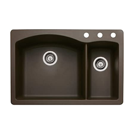 Blanco 440197-3 Diamond 3-Hole Double-Basin Drop-In or Undermount Granite Kitchen Sink, Cafe Brown