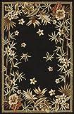 Black Rug Indoor/Outdoor Floral Border Design 9'X13' (Large 10x13) Carpet