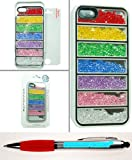 Accessory Factory(TM) Bundle (the item, 2in1 Stylus Point Pen) Diamond Motion Case for iPhone 5 5S Rainbow Stripe Stylish Full Bling Design Snap On Hard Protector Cover Faceplate Shell