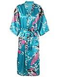 Kimono Robes Peacock Blossoms Silk Satin Long Nightgown Sleepwear, Lake Blue, Lake Blue, One Size