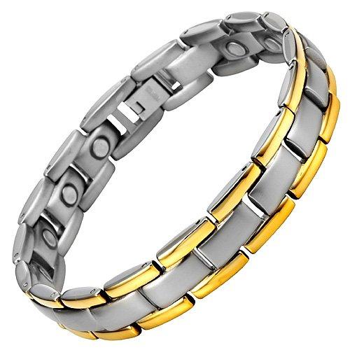 Willis Judd Mens Titanium Magnetic Bracelet In Black Velvet Gift Box + Free Link Removal Tool