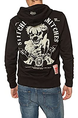 Yakuza Premium Herren Pullover Kapuzensweatjacke STITCHES FOR SNITCHES, Farbe: Schwarz