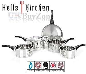 Hell's Kitchen 5 Piece Stainless Steel Non-Stick Cookware Saucepan Pan Pot Set