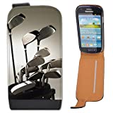 Golf Clubs in Golf Bag Ready to Play Leather Flip Case Cover for Samsung Galaxy S3 Mini i8190