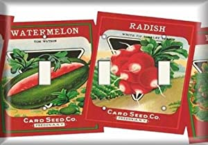 Triple Switch Plate - Radish and Watermelon Seed Packets