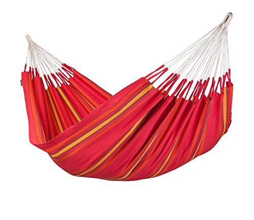 La Siesta Currambera Colombian Open Loop Style And Rip Proof Double Hammock, Cherry