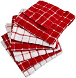 DII Everyday Kitchen Basic Windowpane Combo Dish Cloth Set of 6, Red