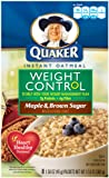 51Wubx2kl2L. SL160  Quaker Instant Oatmeal Weight Control, Maple Brown Sugar, 8 Count Boxes (Pack of 4)