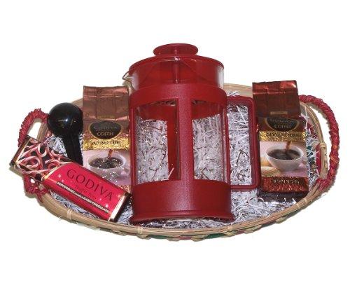 Coffee Lovers Godiva Coffee French Press Gourmet Gift Basket