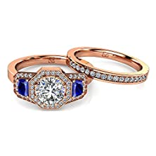buy 14Kt Rose Gold Stunning Three Stone Octagonal Halo Engagement Setting With Sapphire Side Stones Is Accented By A Sparkling Diamond Wedding Band 1/4 Ctw Near-Colorless Color Si1-Si2 Clarity
