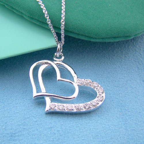 Tungsten Love Stylish Cubic Zirconia Double Heart Pendant Birthday Gifts
