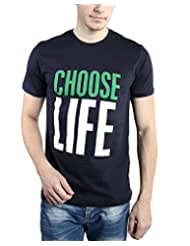 TOMO Men's Cotton Navy Blue Color Round Neck CHOOSE LIFE Printed T-shirt