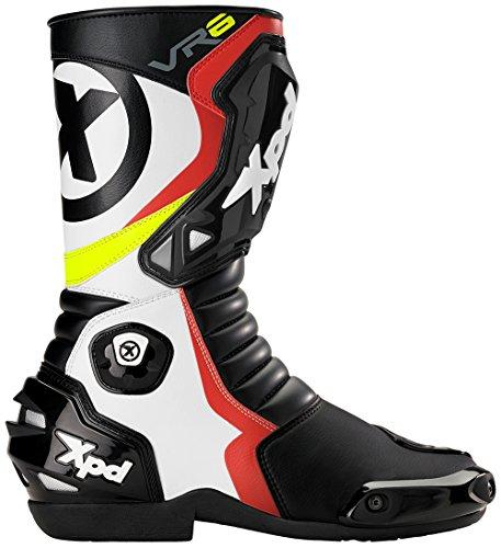 XPD - Stivali da Moto VR6, Nero/Bianco/Rosso, 40