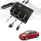 Vheelocityin Car 12V Triple Socket and 2 USB Port Fast Charging (6 months warranty) For Hyundai 4 S Fluidic Verna