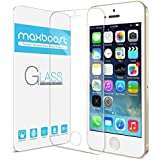 Maxboost iPhone 5S Screen Protector tempered Glass Thinnest Ballistics Glass, 99% Touch-Screen Accurate, Round Edge Ultra-Clear Casings Perfect Fit for Apple iPhone 5/5S/5C