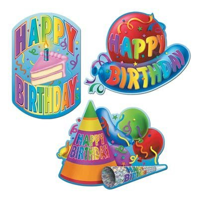 Happy Birthday Cutouts   (3/Pkg)