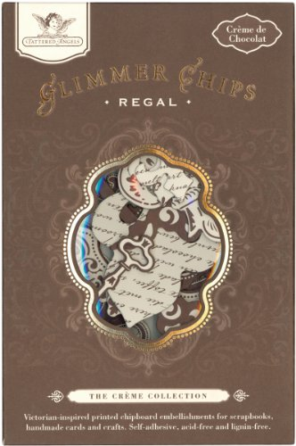 Glimmer Chips Printed & Embossed Chipboard-Creme de Chocolate-Regal-30 PC