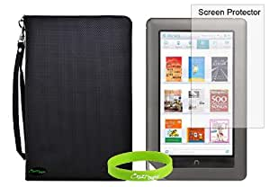 CrazyOnDigital Slim Leather Case Cover with Screen Protector For Barnes & Noble Nook 2 Color (Black). CrazyOnDigital Retail Package