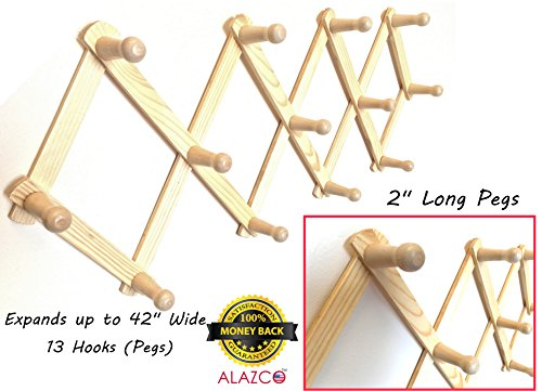 ALAZCO Accordion Style Wood Expandable Wall Rack 13 Hooks (Pegs) For Hat, Cap, Belt, Umbrella Coffee Mug Jewelry Hanging - 2