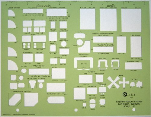 Metric Architects Interior Design Architectural Furniture Drawing Drafting Template Stencil 1:50 Scale