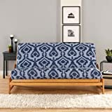 IKAT Futon Cover Color: Light Blue and Navy
