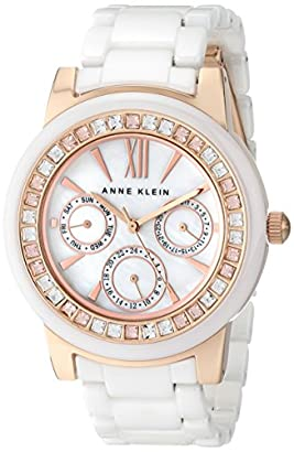 932e07123 Anne Klein Women's AK/1682RGWT Swarovski Crystal-Accented White Ceramic and Rose  Gold-