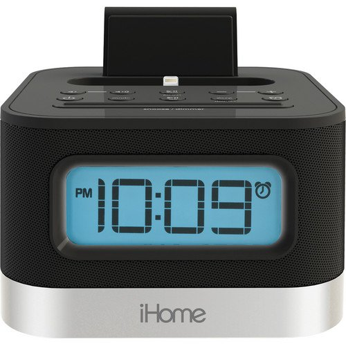 Ihome Stereo Fm Clock Radio With Flexible Lightning Connector, Charges And Plays Iphone5 Or Ipod. Includes 6 Fm Presets, Exb Sound Enhancement And Reson8® Speaker Chambers. Auto Sync Feature With Snooze/Dimmer Bar, Sleep Timer And 12 Or 24 Hour Display.