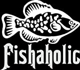 6 wide FISHAHOLIC. White die cut vinyl decal sticker for any smooth surface such as windows bumpers laptops or any smooth surface.
