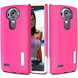 LG G4 Case, TOTU G4 Case [Durable Series] Protective Grip Cover [Drop Protection] Tough Hard Shock-Resistant Hybrid Cover Dual Layer Armor Defender Case for LG G4 - Pink/White