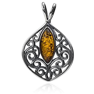 Sterling Silver Amber Marquise Shaped Stone Pendant