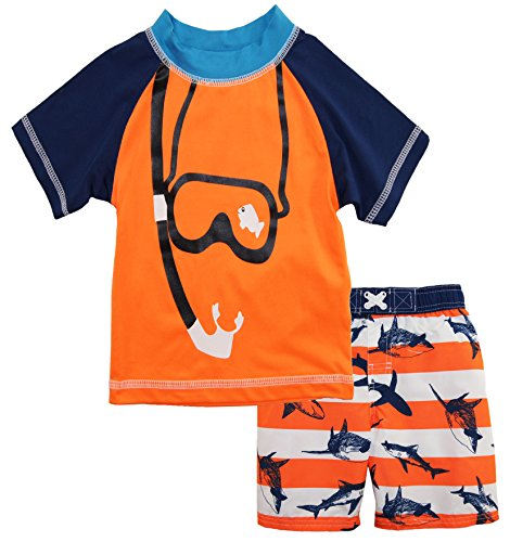 iXtreme Little Boys' Snorkeling with Sharks Rash Guard Swim Short Set, Orange, 4T