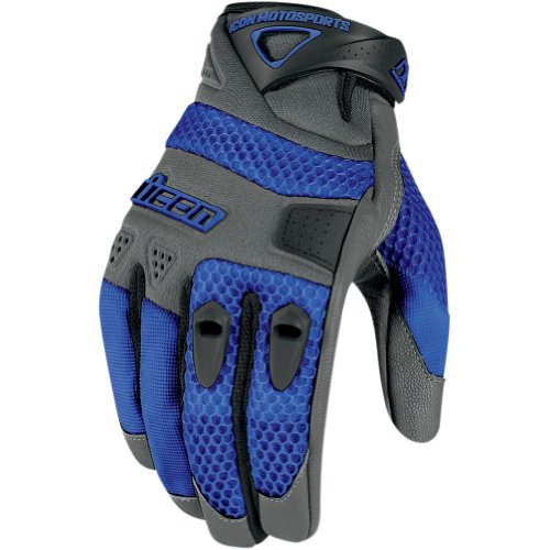 Icon Anthem Men's Leather/Mesh Streetbike Motorcycle Gloves - Blue / Large