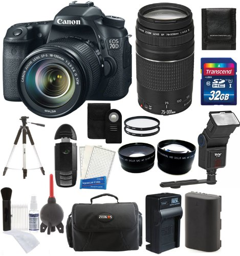 Canon Eos 70D Digital Slr Camera + 18-135Mm Stm Lens + Canon Ef 75-300Mm Iii Lens + 32Gb Card And Reader + Flash + Tripod + Battery And Charger + Case + Uv Filters + Telephoto And Wide-Angle Lenses + Digital Camera Accessory Kit