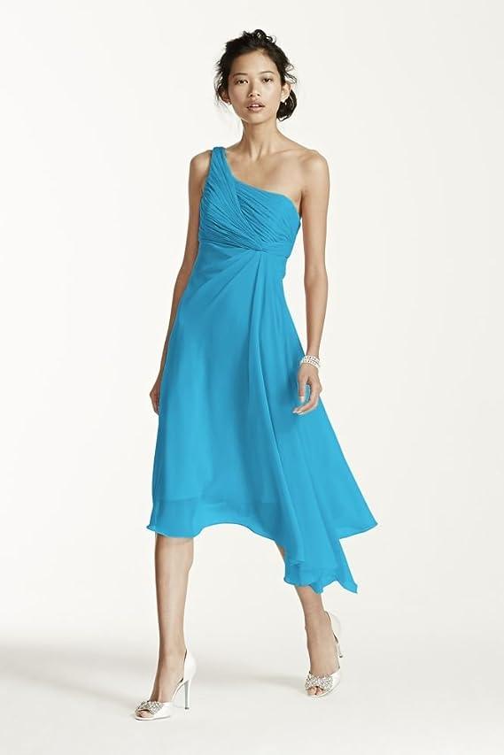 Short One Shoulder Crinkle Chiffon Bridesmaid Dress Style F15608