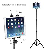 Raking Floor Stand Tablet Tripod Mount Holder with Tripod Base for 7-10 Inch iPad/iPad Mini/Samsung Galaxy Tab, Rotatable 360°, Height Adjustable with Telescoping Post, Portable with Carry Case, Black