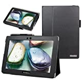 Evecase SlimBook Leather Folio Stand Case Cover for Lenovo IdeaTab S6000 - 10.1'' Android Tablet - Black
