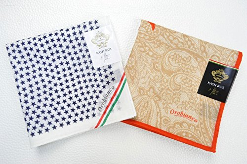 (オロビアンコ)orobianco メンズ ハンカチ 2枚 セット/白×濃紺(ネイビー) スター ・ ベージュ×オレンジ