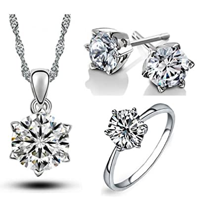 Bridal Jewellery Set Diamond White Small Zircon Stud Earrings Necklace Medium Size Ring S538