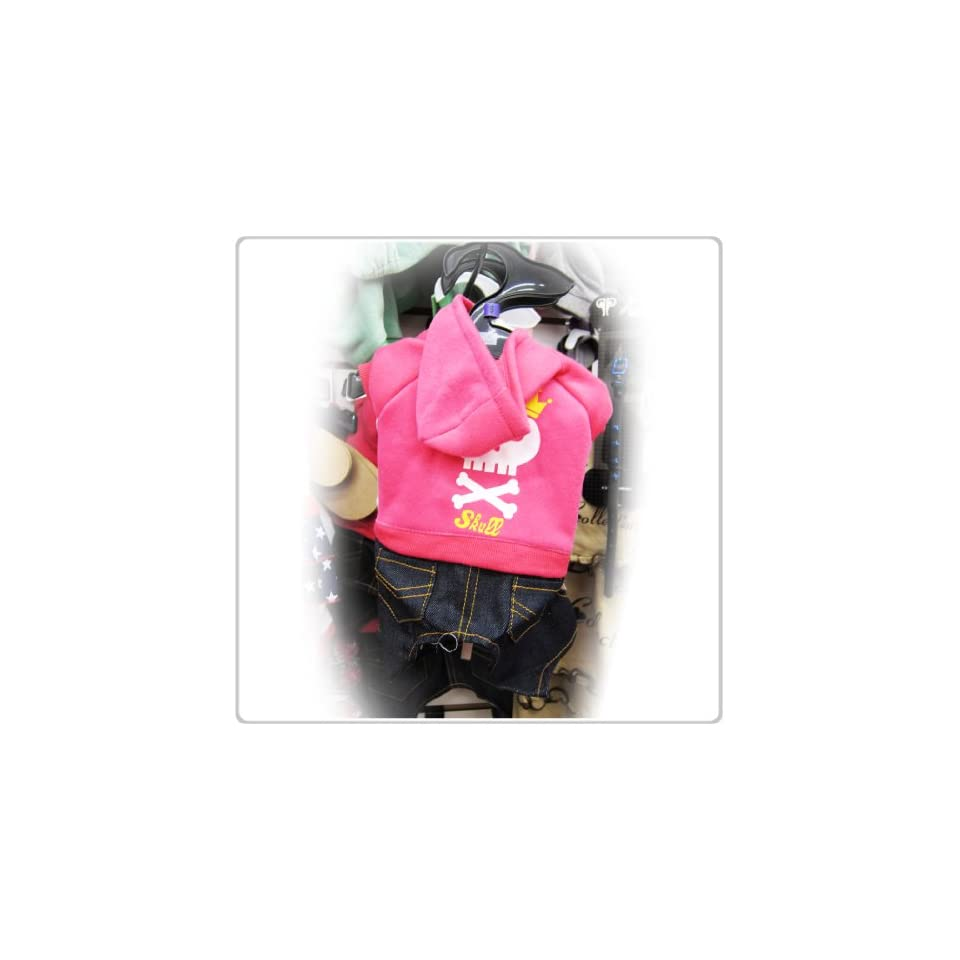 Pet Dog Clothing Cute One Piece Pink Shirt and Jeans Small Size