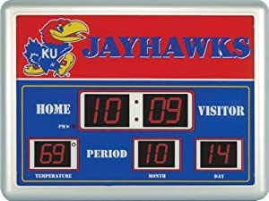 Kansas Jayhawks NCAA Scoreboard Clock & Thermometer (14x19) by Team Sports America