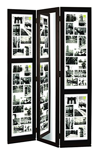 nexxt Preston Triple Panel Photo Screen with Mirror, Matted for 42- 4 by 6-Inch and 2- 4 by 4-Inch Opening, Espresso