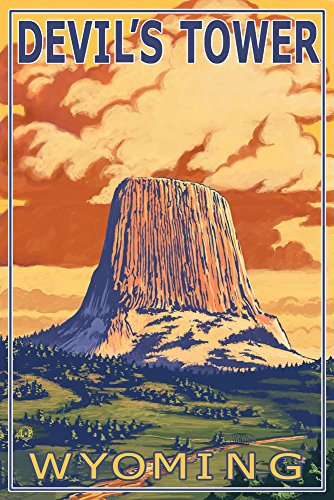 Devil's Tower, Wyoming (9x12 Art Print, Wall Decor Travel Poster) (The Devil Poster compare prices)