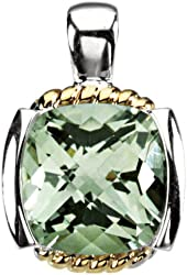 Sterling Silver and 14k Yellow Gold Checkerboard Green Quartz Pendant